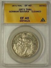 1871 Germany-Bavaria Silver Thaler Coin ANACS EF-40 Details Cleaned