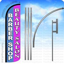 Barber Shop Beauty Salon Windless Swooper Feather Flag 15 Kit Banner Sign Pz
