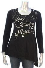 New Women's #3274 Style & CO. Deep Black One Starry Night Chistmas  Long Slv PP