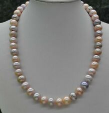 Very luster Natural Rare multicolor 10mm freshwater Pearl Necklace J18616