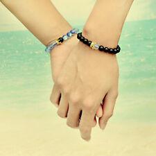 Fashion Luxury Couple Crown Beads 8mm Aura Quartz Distance 2Pcs Bracelets 1 Sets