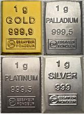 1 Gramm Barren Platin, Gold, Silber, Palladium - Geschenk, Wertanlage, Hochzeit
