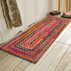 Rug 100% Natural Jute & Cotton Hand Braided style Modern Decor Outdoor Boho Rugs