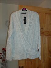 m&s ladies cream/grey speck crossover long sleeve top cardigan uk sz 16 new