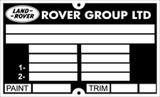 Land Range Rover & Discovery ID Chassis Info all-blank-vin-chassis-plates part n