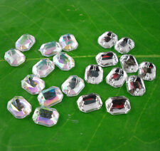flat faceted 8 corner rectangle 8X10mm Acrylic Crystal flat back sew Rhinestone