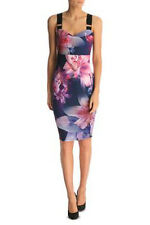 Lipsy Floral Bodycon Dress 8 Buckle Strap Black Pink Purple Party Cruise Summer