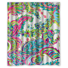 Lilly Pulitzer Colorful Floral Custom Waterproof Fabric Shower Curtain Bathroom