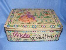 Vintage Old Advertising Tin Milady Toffee Tin Cross Stitch Tin