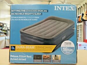 Intex 64131E 16.5 inch Deluxe Pillow Rest Airbed with Built-In Electric Pump