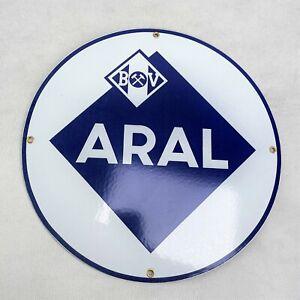 Rundes ARAL LOGO Emailschild Emaille Schild enamel sign Ø 30 cm