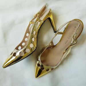 Women's Mid Heel Liquid Gold Patent Slingback Pumps w Cut Outs size 5.5