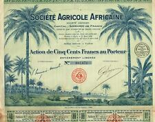 AFRICA AGRICULTURE SOCIETY  stock certificate/bond