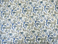 Indian 100%Cotton Voile Fabric White Multi Sewing Hand Block Print Craft 10 yard