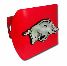 arkansas running hog logo all metal red chrome trailer hitch cover made in usa