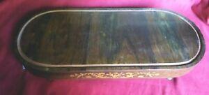 Grand socle de pendule XIX siècle en palissandre et marqueterie 52 cm long