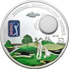 Cook Islands 2012 5$ PGA TOUR GOLF BALL Official License Proof Silver Coin