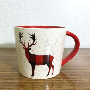Reindeer Speckled Coffee Mug Large 18 oz Ceramic Buffalo Check Christmas Holiday