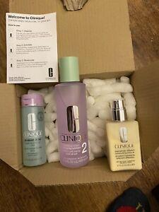 New Clinique 3 Step Signature Skincare Set Dry Skin Soap Lotion & Moisturiser +