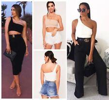 Womens Ladies Summer Sexy Casual One Shoulder Crop Tops Vest Top RRP £-17.99