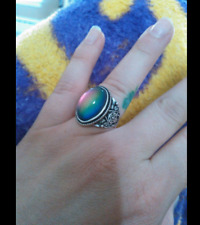 Antique Retro Big Oval Stone Ring Silver Color Change Mood Feeling Deco Size 7