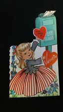Vintage Mailbox And Young Lady Valentine Card 1950S