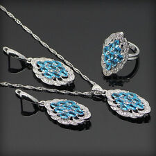 Beautiful BLUE Topaz Set 925 Silver Necklace Pendant Earrings Ring Size 6 7 8 9