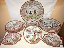 vintage nippon japan geisha girls 15 pc red plates & leaf bowl and candy dishes