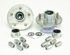 (2) Galvanized Trailer Hubs 3500lb 5 Lug Pre Greased w/ Stainless Steel Lug Nuts