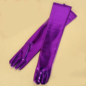 Sexy Women Wetlook Costume Elastic Long Stockings+Gloves PVC Party Clubwear Sets