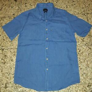 MENS Sz S blue THE ACADEMY BRANDS short sleeve buttoned front shirt COMFY