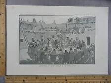 Rare Antique Original VTG Circle Dance Gods In Plaza Zuni Illustration Art Print