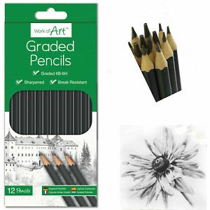 12 Graded Pencils Drawing Sketching Tones Shades Art Artist Picture HB Pencil UK