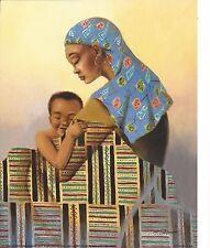 Lady African American Mother Hugging Son Boy Kente Cloth Garb 8X10 Coleman 1996