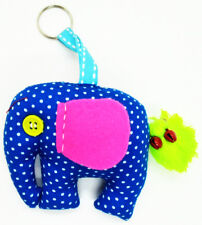 Elephant Doll Keyring Scotch Pattern Sewing Charm Cute Fabric animal lover