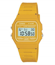 Reloj Digital hombres Amarillo Casio con correa de resina F-91WC-9AEF