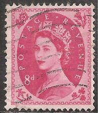 """Great Britain Stamp - Scott #302/A130 8p Bright Rose """"Elizabeth"""" Canc/Lh 1953"""