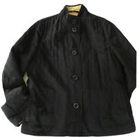 Talbots Size Large Reversible Quilted Jacket Black/Yellow Pockets Piping EUC