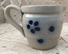 VINTAGE BLUE DECORATED STONEWARE SMALL PITCHER CREAMER