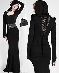 Robe longue capuche gothique lolita burlesque glamour laçage corset Punkrave