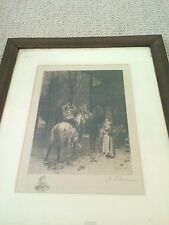 ANTIQUE A. Fauna Remarque Signed Etching after MEISSONIER