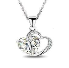 Silberkette + Anhänger 925 Sterling Silber Strass Halskette Kette Damen P165