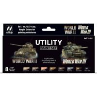 Vallejo Utility Paint Set of 8 Acrylic Colors for Painting WW2 & WW3 Miniatures