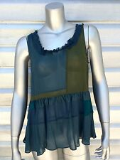 FLOREAT Anthropologie Silk Tiered Patchwork Baby Doll Sleeveless Ruffle Top
