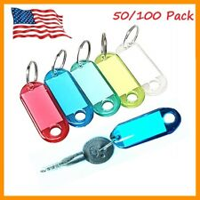 50/100 Pcs Assorted Color Coded Key ID Label Tags Split Ring Keychain Key Tag