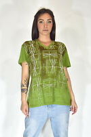 JUST CAVALLI T-Shirt Verde Stile Casual In Cotone TG S Donna Woman