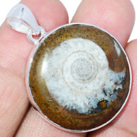 """Fossil"" Moroccan Goniatities Ammonite 925 Silver Pendant Jewelry AP243406 XGB"
