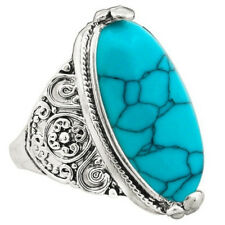 Tibetan Bohemian Oval Turquoise Flower Tail Antique Silver Finger Ring Xmas Gift