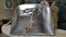 Grays Womens Cosmetic Bag Emma Make Up Bag In Foiled Leather Silver