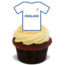 15 ENGLAND SHIRT WORLD CUP PREMIUM EDIBLE STAND UP RICE CUP CAKE TOPPERS D5